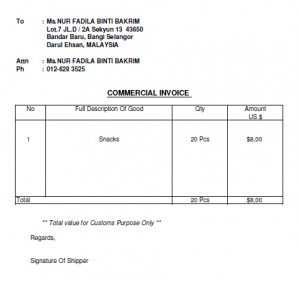 Contoh invoice sederhana (Sample of invoice)